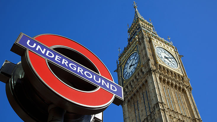 Big Ben Clock Tower and subway station sign